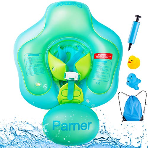 Parner Swimming Baby Inflatable Baby Swimming Pool Floats Ring with Safety Bottom Support and Swim Buoy, Great Baby Water Float Suit for Newborn Baby Kid Toddler Age of 6-36 Months, Large