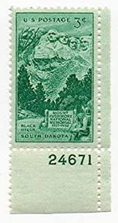 USA Postage Stamp Single (With Plate Number) 1952 Mount Rushmore South Dakota Issue 3 Cent Scott #1011