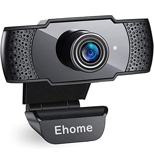 Ehome Webcam with Microphone, Full HD 1080P Streaming Web Camera Plug and Play & Wide Angle USB Camera for Youtube,Video Calling, Studying, Conference, Gaming with Rotatable Clip