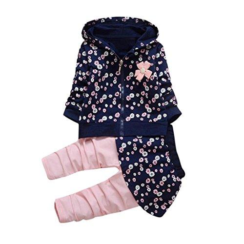 Longra Kleinkind Kinder Baby Mädchen Kleidung Blumen Kapuzenmantel Tops + Hosen Rock Kleider Set Herbst-Winterjacke Baby Sweatjacke Sweatshirt mit Kapuze (0-36Monate) (90CM 18Monate, Navy)