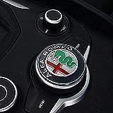 Car Interior Multimedia Button Decoration Ring Cover Sticker, for Alfa Romeo Giulia Stelvio 2017-2020 Car Styling Accessories