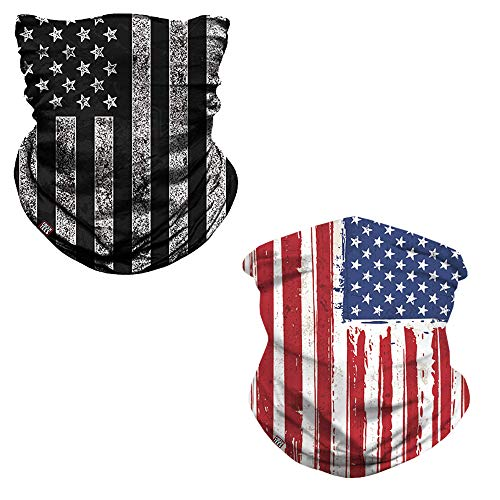 fresh tees 2 Pack American Flag Face Mask,Neck Gaiter(1 Colorful+1 Black/White)