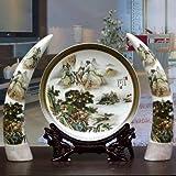 GUOOK estilo chino vintage jingdezhen cerámica jarrón tres conjuntos marfil placa decorativa decoración moderna hogar salón artesanía decoración enviar base