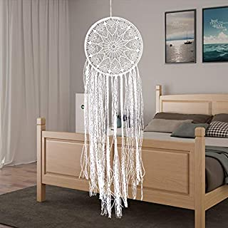 CHICIEVE Large White Dream Catcher White Boho Dream Catchers Crochet Lace Teen Dreamcatcher for Bedroom 10.2