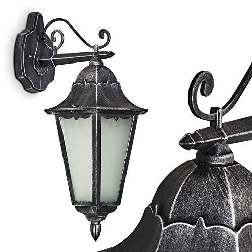 Außenwandleuchte Lignac FROST aus Metall schwarz/silber und Milchglas, Wandlampe für Außenfassade, Hof, Einfahrt, Balkon, Terrasse