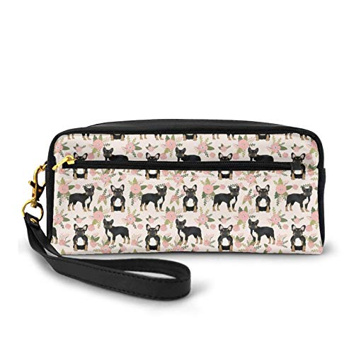Pencil Case Pen Bag Makeup Pouch Wallet,French Bulldog Floral Black And Tan Frenchie Dog Large Capacity Pouch Holder Cosmetic Brush Makeup Bag for Travel Office School