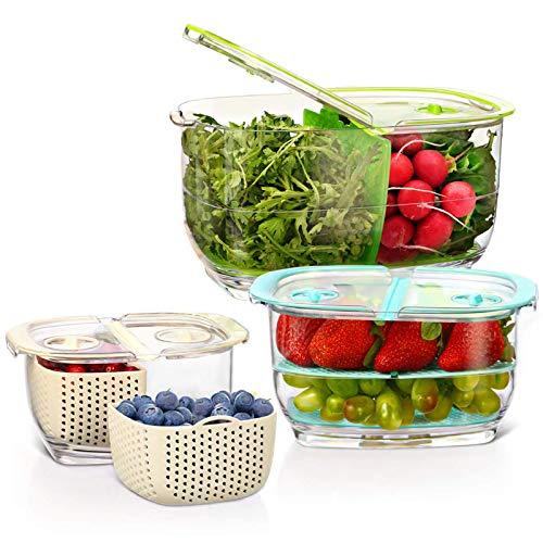 Luxear Fresh Gemüse Obst Frischhaltedosen, 4,4L+1,8L+0,48L Vorratsdosen mit Deckel Ventil Abtropfgitter, BPA-Freie Kühlschrank Aufbewahrungsbox, Einstellbare 2-Fach Küche Organizer, Vorratsbehälter