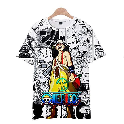SUNCHTX One Piece Camiseta De Verano De Manga Corta Impresa En 3D Camiseta Refrescante Casual Transpirable Camisa De Polo De Cuello Redondo De Dibujos Animados Unisex-04/S