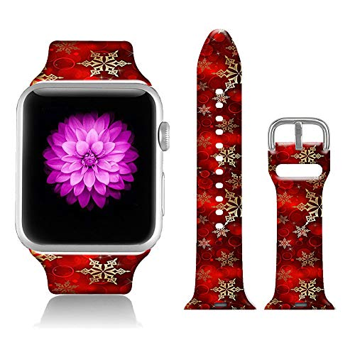 FTFCASE Sport Bands Compatible with iWatch 38mm/40mm Red Christmas, Flower Printed Soft Silicone Strap Replacement for iWatch 38mm/40mm Series 5/4/3/2/1