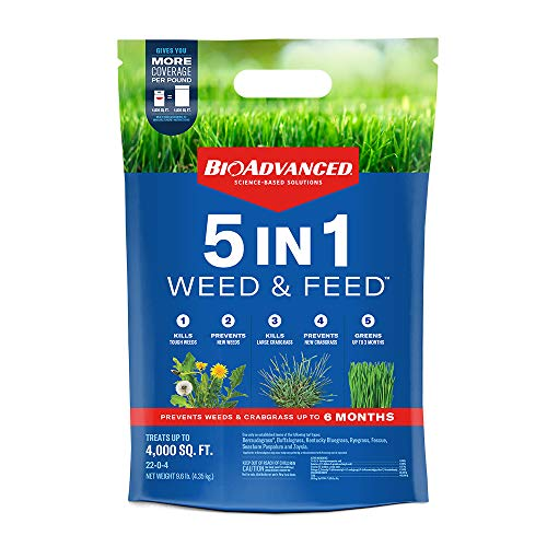 BIOADVANCED 704860U 5-in-1 Weed and Feed Lawn Fertilizer and Crabgrass Killer, 4,000 Square feet,...