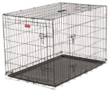 Dog Training Crate - Lucky Dog 2 Door Kennel - Includes Rust Resistant Wire, Top Handle for Mobility, Leak-Proof Removable Pan for Easy Cleaning. Perfect for Home, Travel & Pet Training (48-inch)