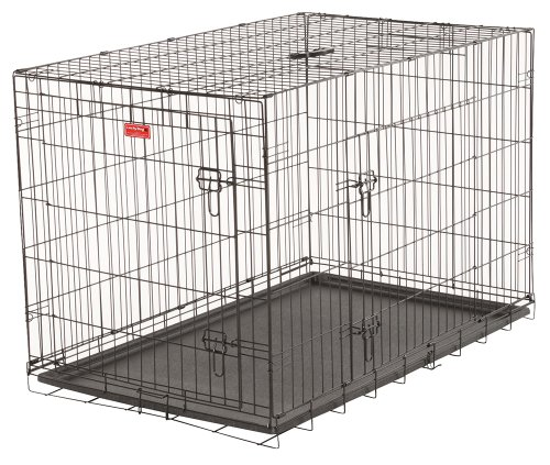 Lucky Dog 2 Door Dog Training Kennel with Rust-Resistant Wire, Handle and Leak-Proof Removable Pan, Giant - 48L x 30W x 33H Inch