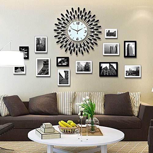 Marco de fotos decorativo Foto marco foto marcos collage moderno sala de estar madera combinación reloj dormitorio marco creativo pared decoración foto marco de fotos Coloque los cuatro lados de la fo