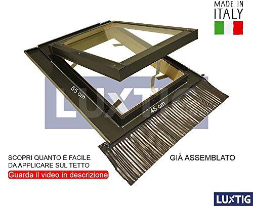 Lucernario per Tetto Finestra Skylight Legno Alluminio a Vasistas Disponibile in Tutte le Dimensioni - Doppio Vetro - Isolamento - Permette anche Fisi