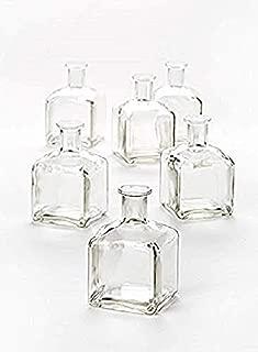 "Serene Spaces Living 6 Glass Bottle Bud Vases, Vintage Square Bottle Style – Elegant Vases for Wedding, Event Floral Centerpiece, 4 3/8"" Tall by 2 5/8"" Square"