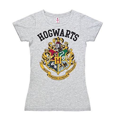 Logoshirt Harry Potter - Blasone - Grifondoro - Tassorosso - Corvonero - Serpeverde - Hogwarts Logo T-Shirt Donna - Grigio Melange - Design Originale Concesso su Licenza, Taglia M