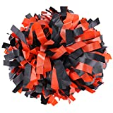 ICObuty Plastic Cheerleader Cheerleading Pom Pom 6 inch 1 Pair (Black-Orange)