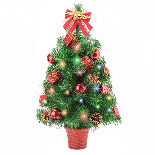 Amasava Small Christmas Tree 55cm Pre Lit Christmas Tree with Multi colour LED Lights Mini Desktop Xmas Trees Decorated with Ornaments Pinecones and Bowknots, Small Gift Box, Christmas Baubles in Red