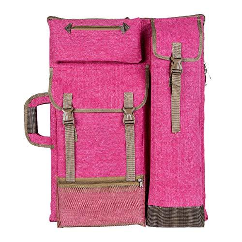 "Transon Art Portfolio Case Artist Backpack Canvas Bag Large 26"" x 19.5"" Magenta Color"