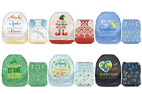 Mama Koala One Size Baby Washable Reusable Pocket Cloth Diapers, 6 Pack Nappies with 6 One Size Microfiber Inserts (Positive Vibes)