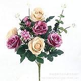 SXWDLHB 11 comme Chefs Rumei De Haute Qualité Fleurs Artificielles Faux Fleurs Réalistes Feel Mariage Bouquets D'occasion Accueil Hôtel Jardin Bureau Décoration A