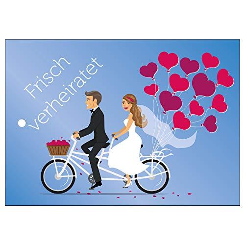 Ballonflugkarten zur Hochzeit - 50 Stück - gelocht, schöne leichte Ballonkarten mit Herzmotiv für einen weiten Flug im Postkarten-Format für Luftballons - Herzluftballons Hochzeit, beidseitiger Druck