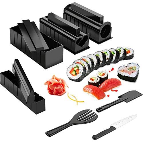 Kit para hacer sushi, rodillo de sushi, 11 piezas, kit para hacer sushi, rollo de sushi, molde para hacer arroz, herramientas de cocina, sushi, herramientas de cocina