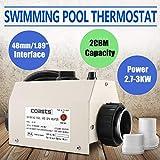 Ukiki Thermostat de Chauffage Electrique 3KW 220V Piscine Interfaces Thermostat de Piscine Electrique Régulateur Capteur de Température Piscine à Massage Spa Automatique
