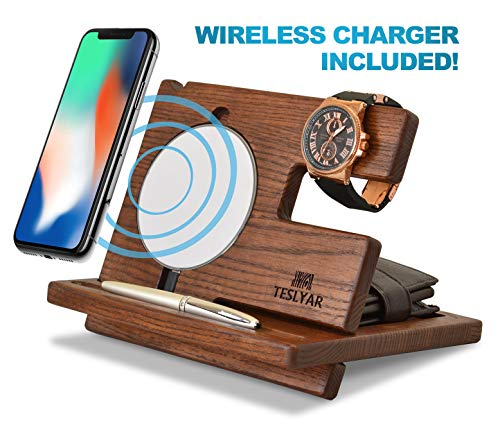 TESLYAR Wood Phone Docking Station Ash Key Holder Wallet Stand Watch Organizer Men Gift Husband Wireless Charging Pad Slim Birthday Nightstand Purse Tablet Compatible with All Qi Devices (White)