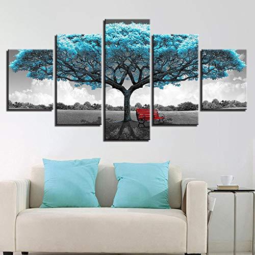 IIIUHU Cuadro en Lienzo Silla roja Abstracta Gran árbol Azul 150x80cm - XXL Impresión Material Tej