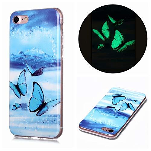 Miagon Leuchtend Luminous Hülle für iPhone 7 Plus/8 Plus,Fluoreszierend Licht im Dunkeln Handyhülle Silikon Case Handytasche Stoßfest Schutzhülle,Blau Schmetterling