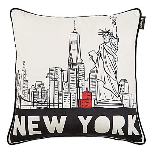 Fodera per Cuscino Velvet City Architecture Paesaggio Stampato Divano Camera da Letto Decorazione Soggiorno Federa Quadrata 50 x 50 cm Senza Anima New York