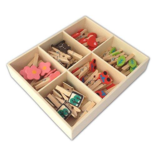 LWRの工芸品の木の小型洗濯バサミ6つの様式箱の48部分