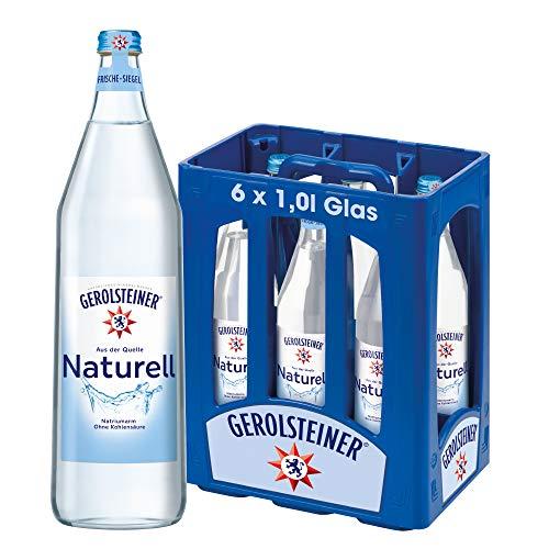 Gerolsteiner Naturell – Natürliches Mineralwasser ohne Kohlensäure – Geeignet für eine natriumarme Ernährung – 6 x 1 L Mehrweg Flaschen aus Glas