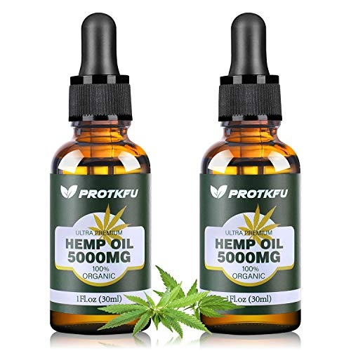(2 Pack) 5000MG Hemp Oil for Pain, Anxiety & Stress Relief - 100% Natural Organic Hemp Extract - Rich in Vitamin & Omega, Helps with Deep Sleep Skin & Hair Health, Immune System Support