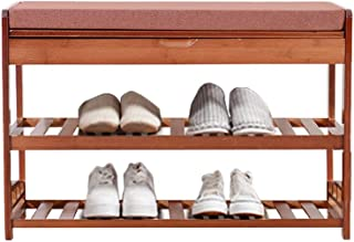 Soges Shoe Bench with Cushion Bamboo 2-Tier Shoe Rack Shoe Storage Bech Entryway Shoe Storage Organizer HSJ-HXD-BY-70