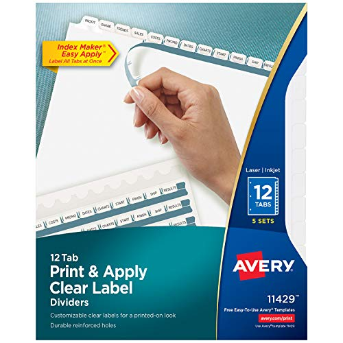 Avery 12-Tab Binder Dividers, Easy Print & Apply Clear Label Strip, Index Maker, White Tabs, 5 Sets (11429)