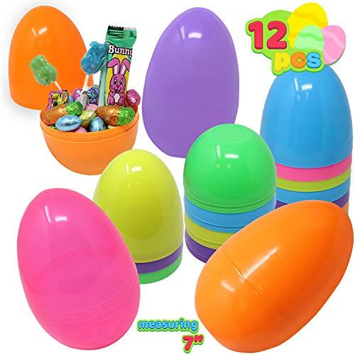 JOYIN 12 Stück 17.7cm Kunststoff Ostereier, Ostereier zum Befüllen für Ostern Partyzubehör, Osterkorb Füllstoffe, Klassenzimmer Anreize, Kinderspielzeug und Überraschungsgeschenk