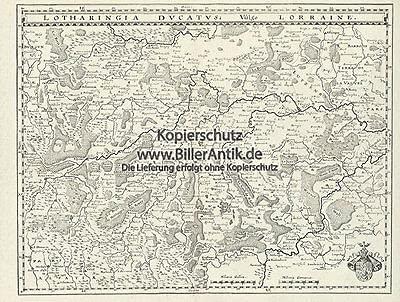 Lotharingia Ducatus Vulgo Lorraine Lothringen Karte Kupferstich Merian O 0473