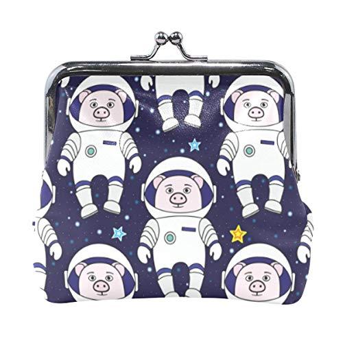 Cartera Pink Pig Astronaut Space Star Night Monedero Bolsas Cuero Cambio Titular Tarjeta Embrague Bolso