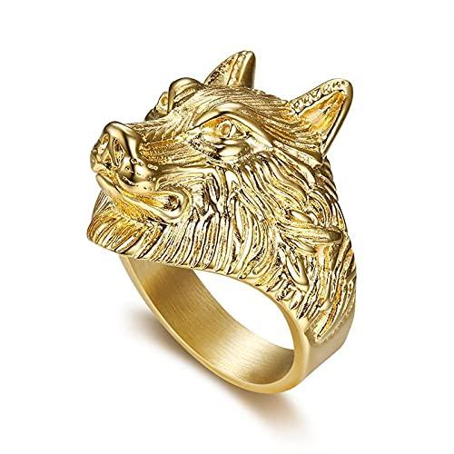 LINYIN 2pcs Acero Inoxidable Cabeza de Lobo Anillo de Hombre, Preservación del Color Vacío Chapado en Oro Joyas dominantes 11号 Gold