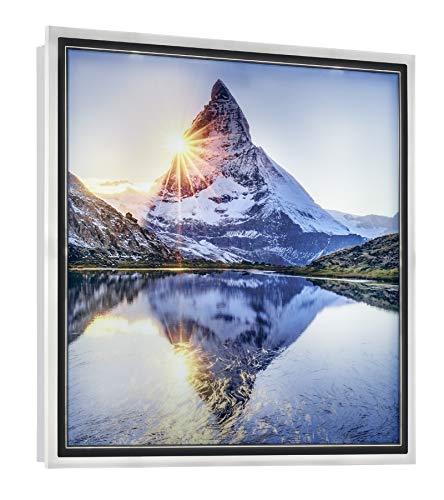 Reality Leuchten LED Wandleuchte Mountain R22140301, Rahmen Kunststoff weiß, Motiv Berg, inkl. 12.5 Watt LED