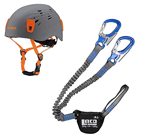 LACD Klettersteigset Pro Evo Blue + Kletter-Helm Camp Titan Grey 48-56cm