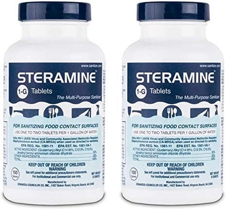 Steramine Sanitizing Tablets For Sanitizing Food Contact Surfaces, Kills E-Coli, HIV, Listeria, 1-G 150 Sanitizer Tab...