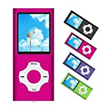 MP3 Player / MP4 Player, Portable Music Player with a 32GB TF Card with Music/Video/Voice Record/FM Radio/E-Book Reader/Photo Viewer, Support up to 64GB (Pink)