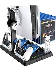 Benazcap Stojak konsolowy PS5 z wentylatorem chłodzącym i kontrolerem PS5, wielofunkcyjny stojak pionowy z chłodziarką konsoli, stacja ładująca kontroler z 15 szt. pamięci dysków do gier, czarny