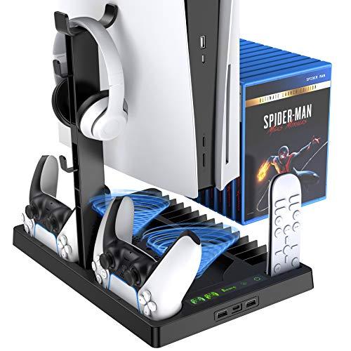 Benazcap Multifuncional Soporte de Consola PS5 con Ventilador de Refrigeración,Cargador para Mando PS5,con Almacenamiento de 15 Discos de Juegos,Y Otros Accesorios de PS5,Negro