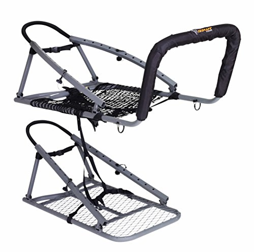 """OL'MAN TREESTANDS Multi-Vision Climbing Stand, Steel Construction with 21"""" Wide Net Seat, Gray, One Size (COM-04)"""