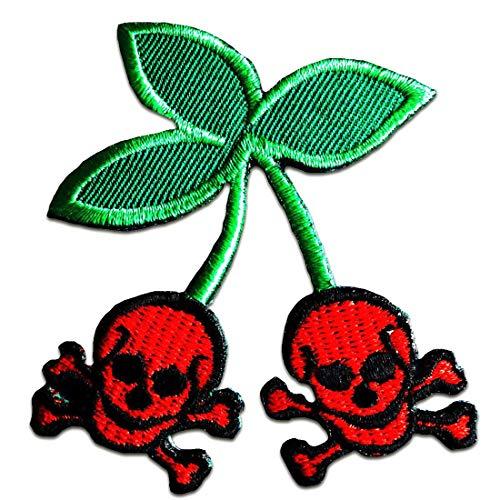 Party crâne Biker squelette Cherry cerise Punk - Ecusson thermocollant patches appliques, Taille: 6,5 x 7,7 cm