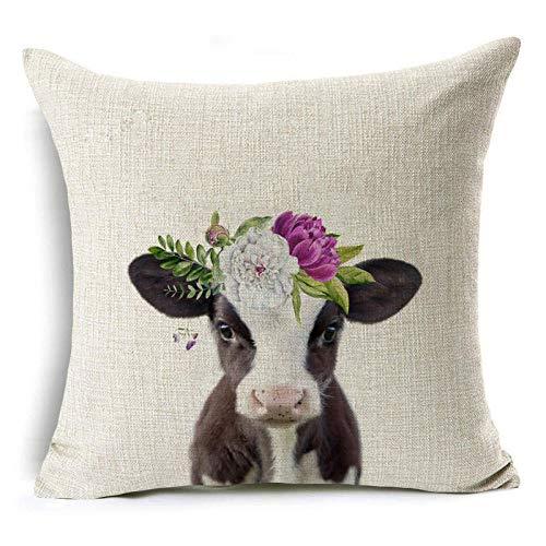 Funda de Cojín Ropa de Cama Cuadrado con la Cremallera Invisible Funda de Almohada del Sofá Decorativos para Cama Coche Hogar Flor de Vaca Morada Sin Relleno 45x45cm